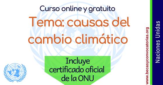 Curso online sobre las causas del cambio climático con certificado oficial de la ONU