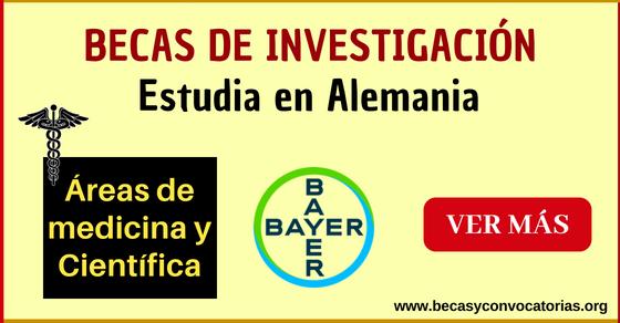 Becas laboratorio Bayer para estudiar en Alemania, áreas médicas y científicas