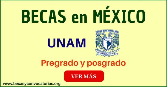 Convocatoria UNAM para becas en diferentes programas - México